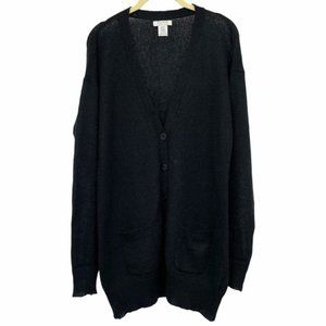 Pure by Alfred Sung Black Buttoned Cardigan mohair